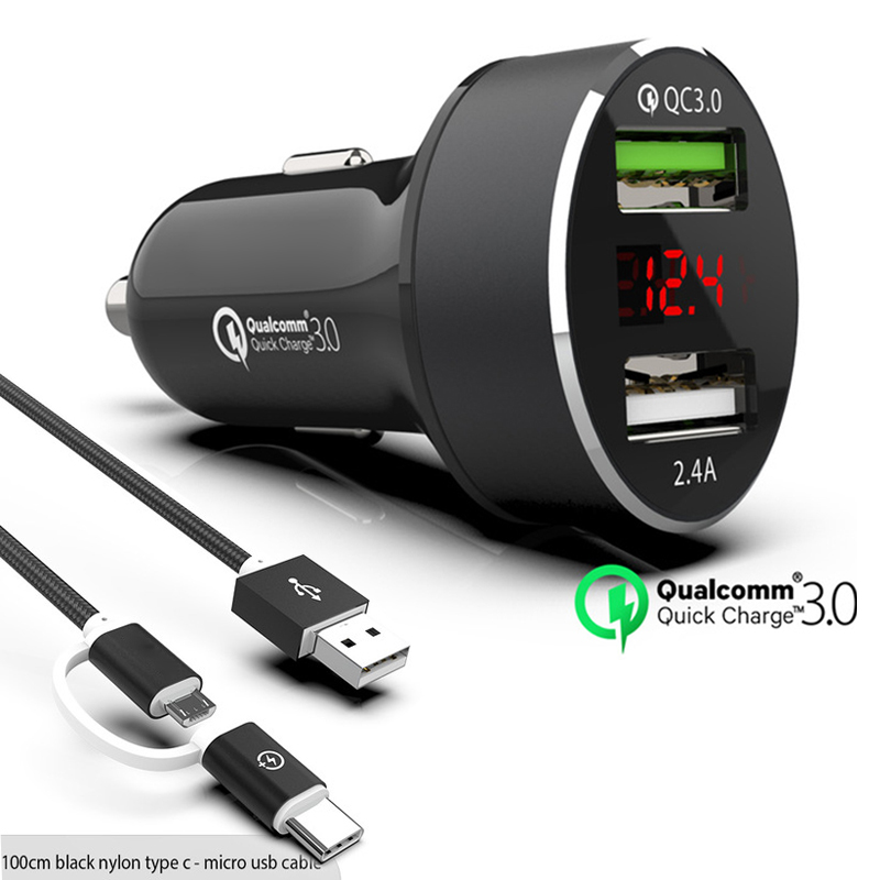 QC3.0 Fast Dual USB Car charger LED Display Quick Charge 3.0