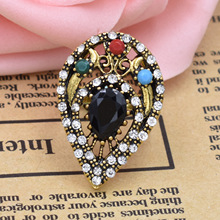 New Micro-inlay Resin Rhinestone Boho Ring Stainless Steel Gold Vintage Drop Shape Hollow Finger Ring Bague Femme