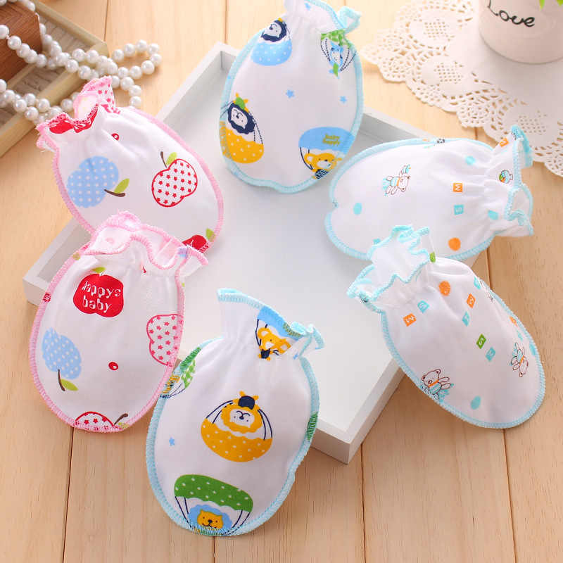 Cute Baby Anti Scratching Gloves Newborn Protection Face Infant Mittens Random