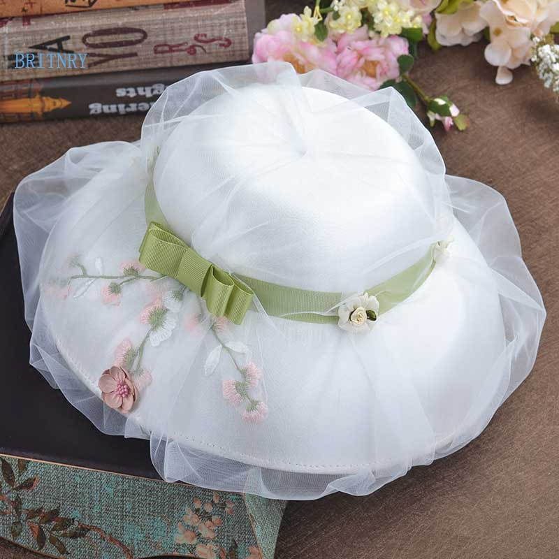 BRITNRY New Arrivals Fashion Wedding Hat Elegant Tulle Bow Fascinator Hats For Wedding Embroidery Bridal Hat
