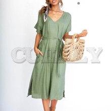 CUERLY Solid cotton linen women dress Elegant v-neck sashes female midi Short sleeve A-line soft summer wear lady