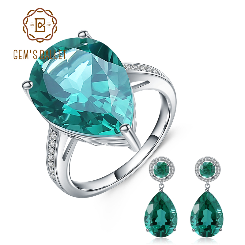 GEM S BALLET Luxury Russian Nano Emerald Ring Earrings Jewelry Set 925 Sterling Silver Engagement Fine