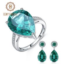 GEM'S BALLET Luxury Russian Nano Emerald Ring Earrings Jewelry Set 925 Sterling Silver Engagement Fine Jewelry For Women