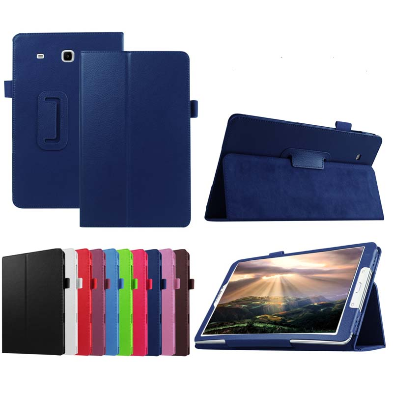 Ultra Slim Litchi Grain 2-Folder Folio Stand PU Leather Cover Case For Samsung Galaxy Tab E 8.0 T377 T377V SM-T377 T375 Tablet 2 folding luxury folio stand holder leather case protective cover for samsung galaxy note pro 12 2 p900 p901 p905 12 2 tablet