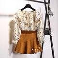 Camisa del hombro impreso floral de la gasa de la raya vertical de cuello flare manga coreano de moda mujeres top de manga larga top s702c-0197