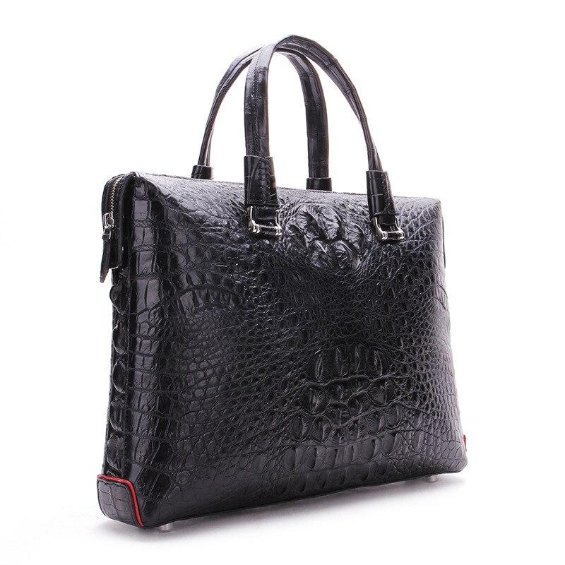 2018 new crocodile leather business men's handbag leather double zipper dark bag fashionable men's bag dark grey nubuck leather handbag