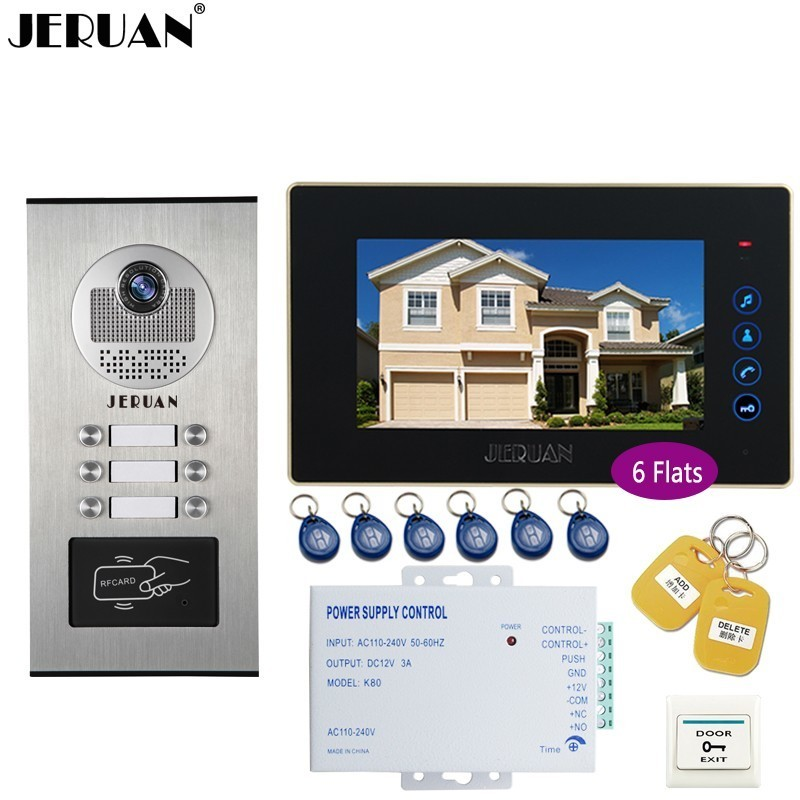 JERUAN 7 INCH Video Door Phone Doorbell Intercom system RFID Access Entry Security Kit For 6 Apartment Camera to 6 Household jeruan 7 inch video door phone record intercom system rfid access entry security kit for 4 apartment camera to 4 household