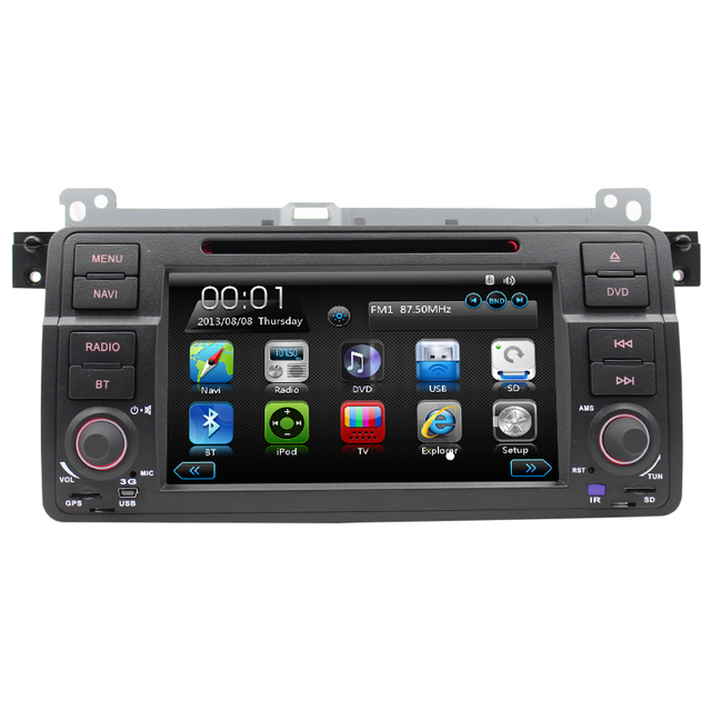7ich reversing camera can bus GPS navigation bluetooth for BM E46 car accessories dvd player steering wheel control free map RDS
