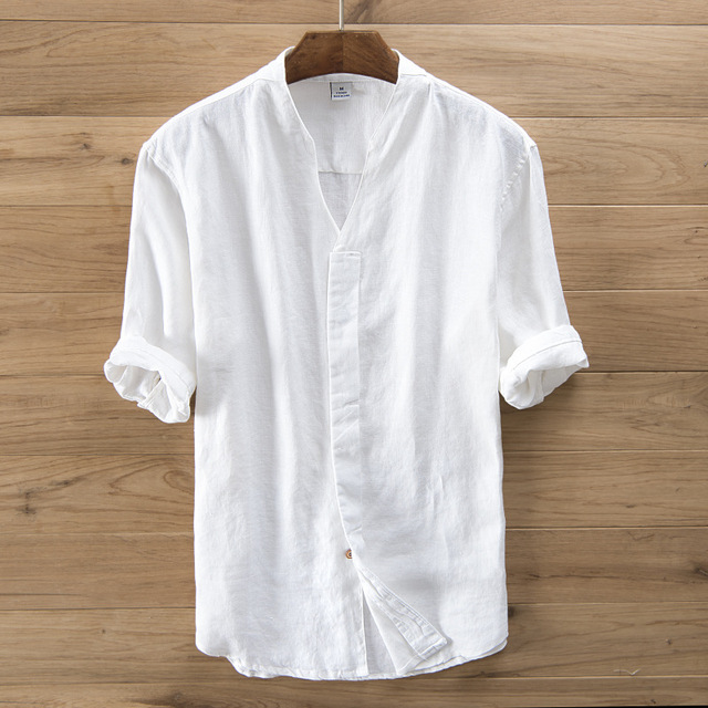 5c161752d08 Mens Pullover Pure Linen Shirts Half Sleeve Summer Breathable Quality Casual  Shirts V Neck Slim Solid Casual Shirt Man TS-253