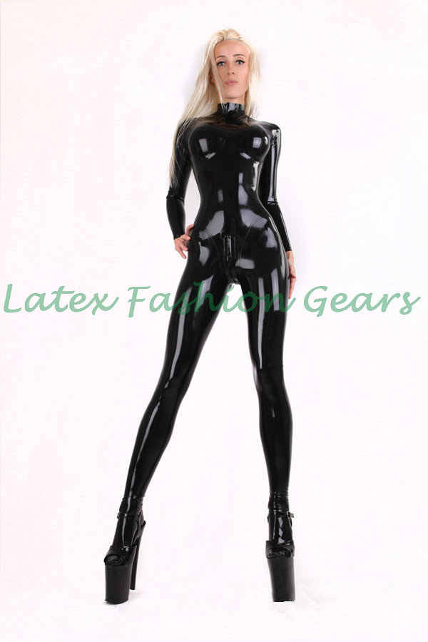 Hot sale sexy black latex catsuit with socks chest three-dimensional design for women plus size custom made