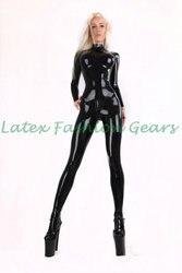 Горячая Распродажа сексуальный черный латексный комбинезон с носками грудь трехмерный дизайн для женщин размера плюс на заказ