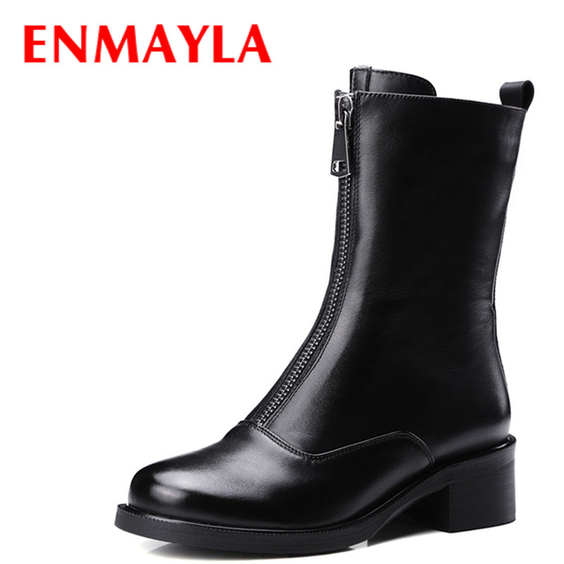 ENMAYLA Low Heels Classic Black Shoes Woman Zippers Size 34-39 Platform Shoes Round Toe Winter Boots Mid-calf Motorcycle Boots 2017 new winter mid calf boots women genuine leather boots wedges round toe mid heels boots high quality shoes size 34 41 m4 0