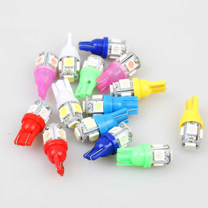 1pcs T10 W5W 5050 5 SMD 194 168 Xenon white/blue/red/green/yellow Wedge Interior Side Dashboard License Light Lamp Car Styling