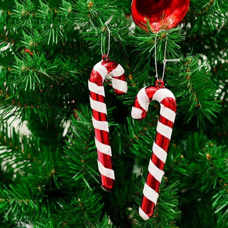 6pcs/pack For New Year Xmas Party Kids Gift Xmas Hanging Candy Cane Christmas Tree Ornaments Crutch Pendant Decor