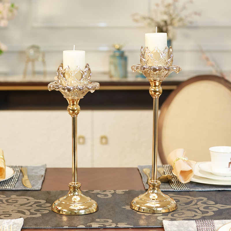 Wedding Candlestick Crystal Glass Candlestick Golden Floral Dinner Table Candlestick Europe style High Foot Candle Holder
