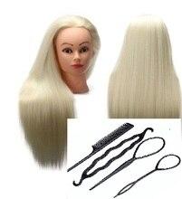 Cabezas de maniquí de cabello blanco CAMMITEVER para práctica de entrenamiento femenino Visualización de peluquería