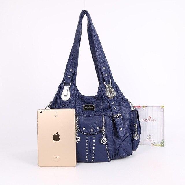 0de159c320 Angel Kiss Women 2 Top Zippers Closure Casual Shoulder Bags Multiple  Pockets Woman Handbags Washed PU