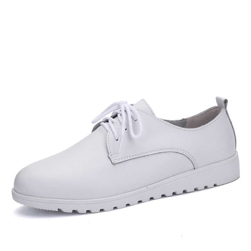 2019 femmes chaussures décontractées en cuir véritable à lacets Moccains bout rond en caoutchouc semelle bateau chaussures appartements femmes rétro Ballet chaussures plates