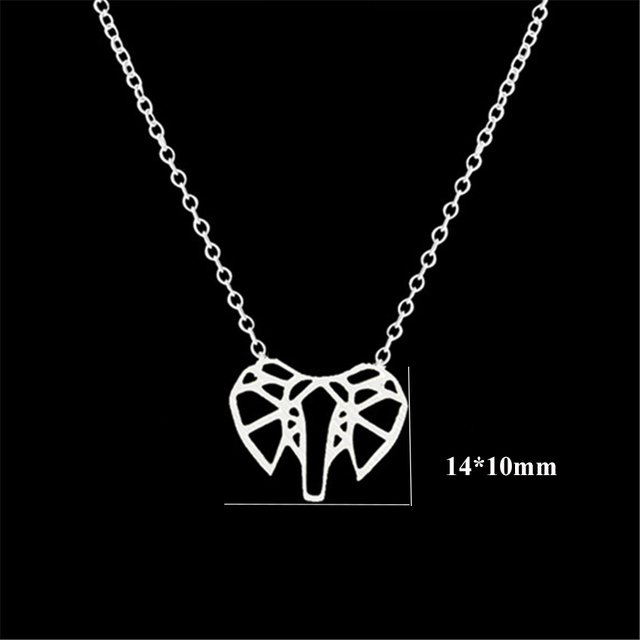 DIANSHANGKAITUOZHE Gold Collares Mujer Origami Elephant Women Necklaces Jewelry Stainless Steel Bijoux Vintage Accessories 10pcs