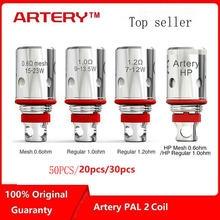 50PCS,30PCS/Lot Original Artery PAL II Coils Mesh 0.6ohm 1.0ohm 1.2ohm for 2 Pod Kit  Replacement