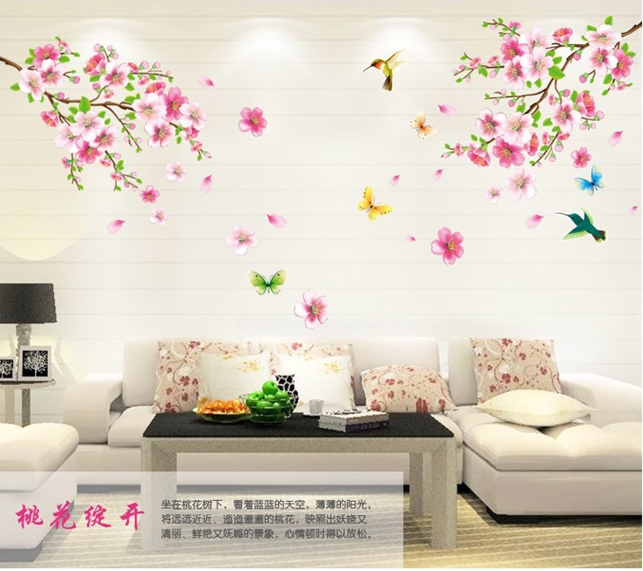 Large ElegantFlower Wall Stickers Graceful Peach Blossom birds Wall Stickers Furnishings Romantic Living home decor sticker &