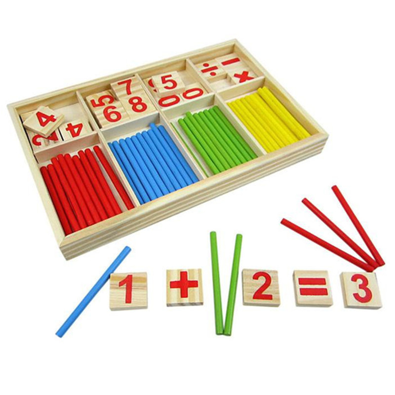 Wooden children Educational Numbers Math Calculat game Baby ...