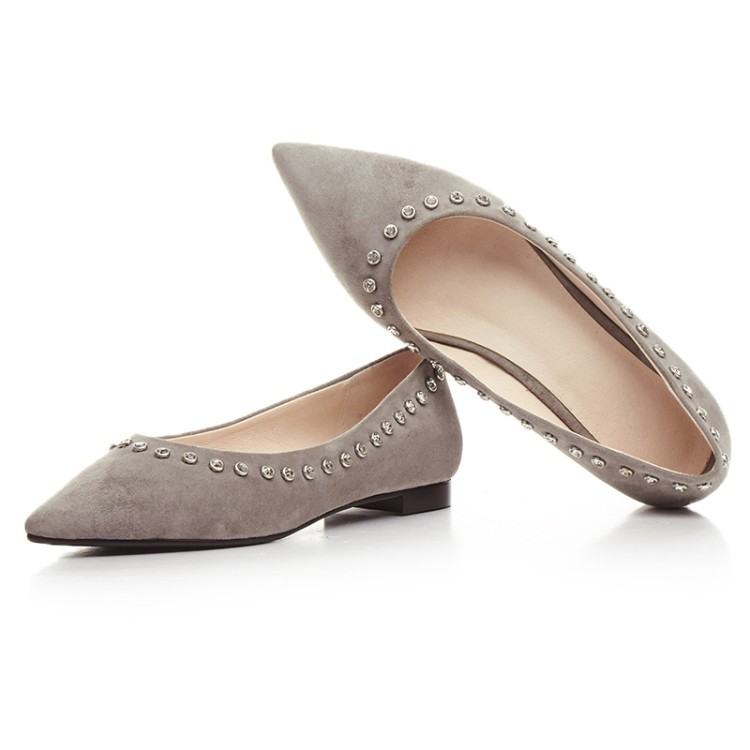 Solid Color Rhinestone Flats Shoes Women Spring 2017 Fashion Casual Pointed Toe Slip On Breathable Shoes Woman High Quality Hot new hot spring summer high quality fashion trend simple classic solid pleated flats casual pointed toe women office boat shoes