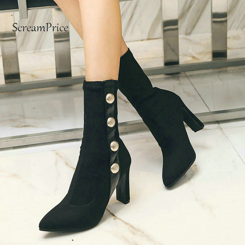 The New Square High Heel Slip On Woman Mid Calf Boots Fashion Pointed Toe Dress Shoes Woman Black Silver
