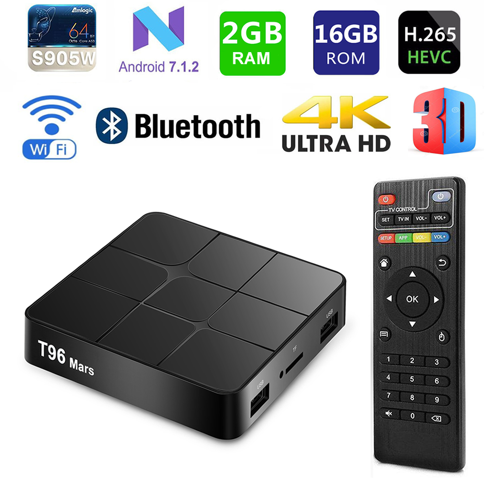 T96 Mars Smart TV Box Amlogic S905W Quad Core 2GB Ram 16GB Rom Android 7.1 Bluetooth WIFI H.265 3D 4K Media Player Sep-Top Box eu us plug cs918s andriod 4 4 smart tv box quad core 2gb ram 16gb rom built in bluetooth 3g wifi android tv box newest in 2017