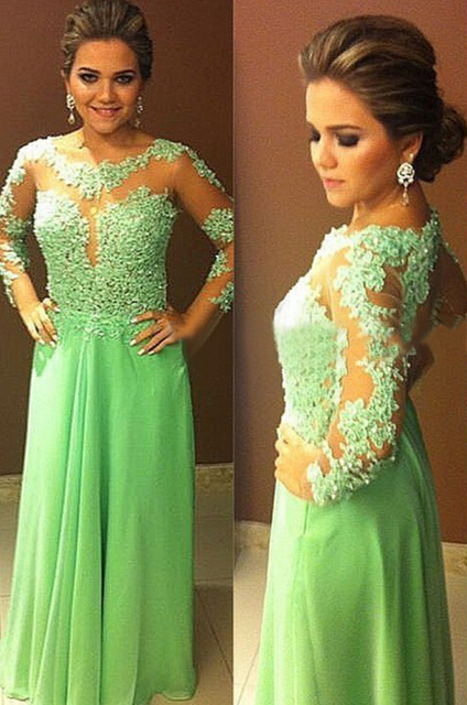 Free Shipping Sexy Long Sleeve See Through Tulle Lace Chiffon Light Green  Prom Dress Long Beautiful Formal Gown 39738157e5e2