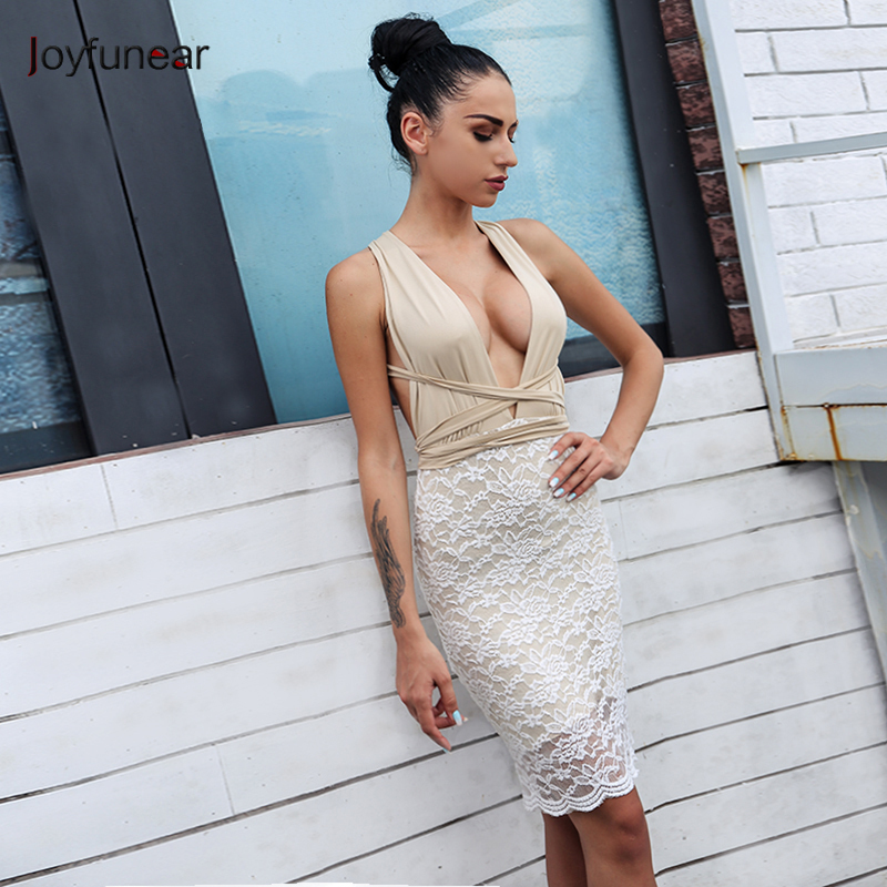 Joyfunear New Fashion Dresses Long Strap Backless Bandage Dress Woman Deep V-Neck Lace Hip Mini Dress Vestidos De Fiesta