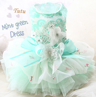 Free shipping handmade mint green Exquisite Stereo diamond flower soft lace fluffy yarn Princess dog dress pet clothing apparel