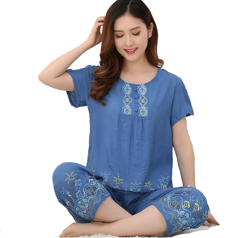 2018 New Arrival Female Pajamas Set Sleepwear Women Cotton Linen Print  Flower Pyjamas Summer Casual Loose Nightwear Home Wear