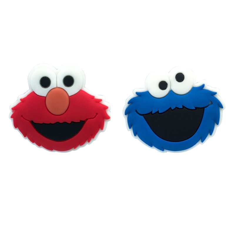 Free Shipping 2pcs Sesame Street  Shoe Charms Shoe Accessories For Wristbands Croc Jibz Best Gift For Shoe Decoration Kids Gift
