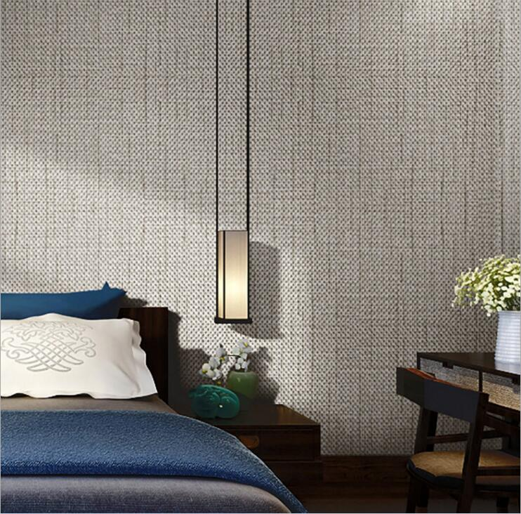 Contemporary Wallpaper Ideas: Modern Linen Wall Paper Designs Beige Brown Non Woven Flax