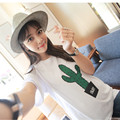 2016 Summer Nursing Tees  Maternity Clothing Loose Cactus Pattern Double Open-end Pregnancy Wear T-shirt