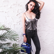 2017 Summer Glistening Fabric Tank Top Women Metal Style Loose Type Spaghetti Straps Thin Elastic One Size Fits All