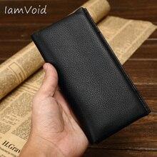 Длинный стильный мягкий кожаный кошелек из натуральной воловьей кожи, кошелек из натуральной кожи для мужчин и женщин, держатель для кредитных карт, кошелек, чехол для телефона