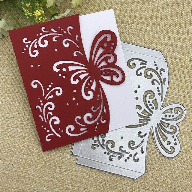פרפר רעיונות אלבום תמונות כרטיס ברכת מעטפת מתכת סטנסיל חיתוך מת הבלטות קרפט DIY נייר כרטיס
