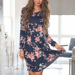 2018 Spring Autumn Dress Women Mini Dress O-Neck Floral Print Long Sleeve Dresses Party Vestidos Femme Dropshipping Y9 2