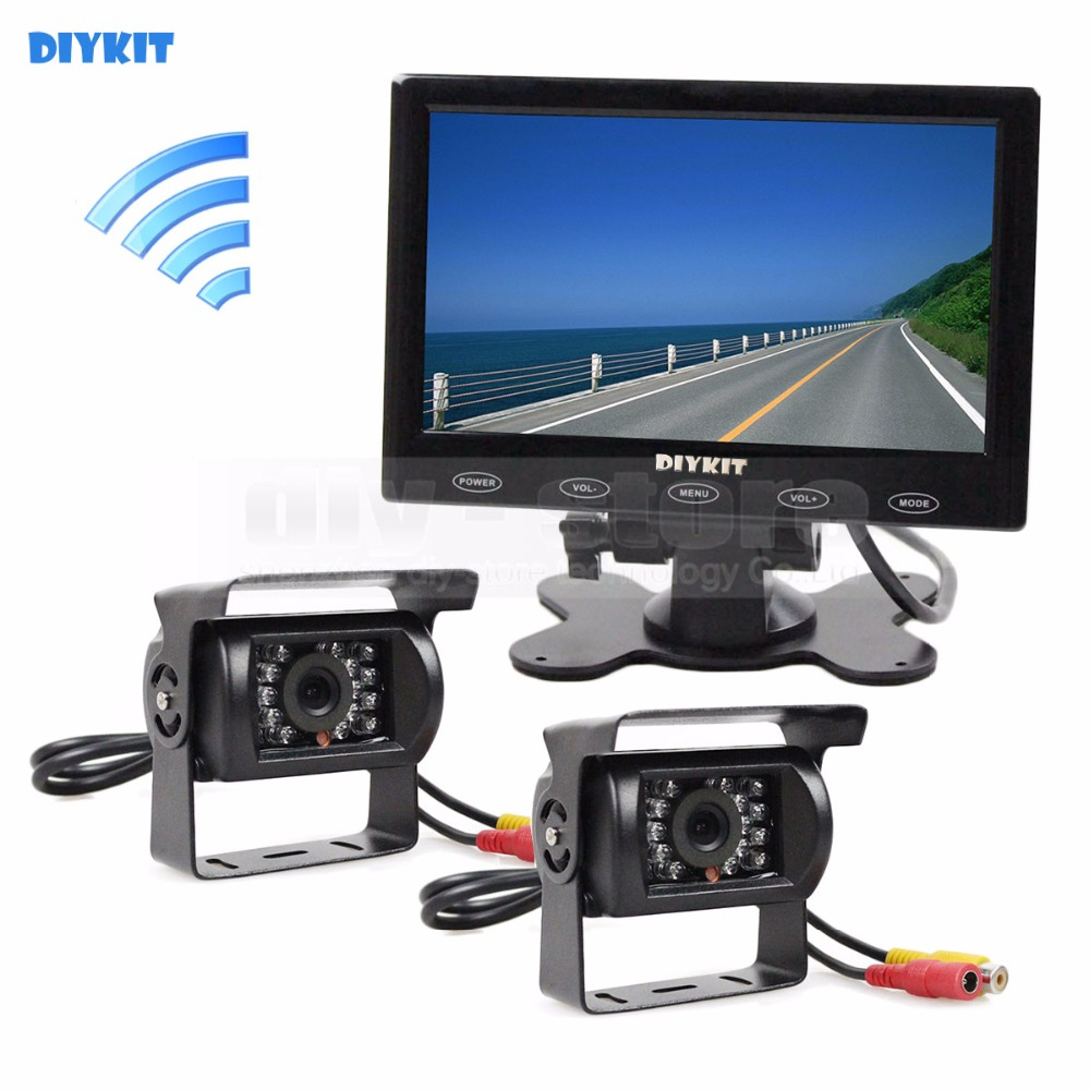 DIYKIT 12V DC Wireless Rear View Kit Backup Waterproof CCD Camera Kit System 7 Touch Monitor for Horse Trailer Motorhome diykit wired 12v 24v dc 9 car monitor rear view kit backup waterproof ccd camera system kit for bus horse trailer motorhome