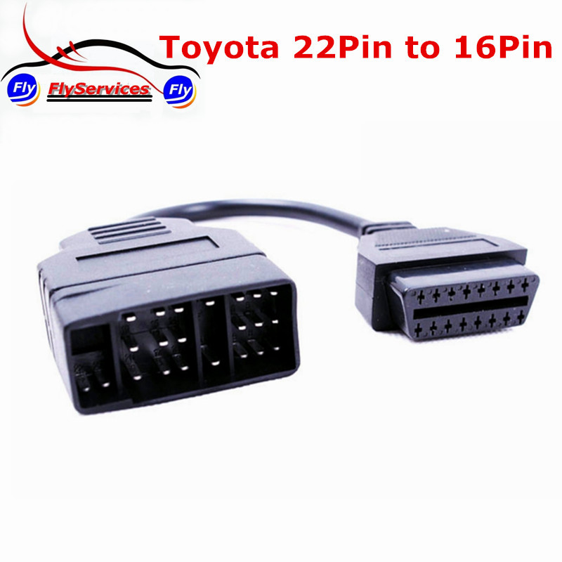 2017 For Toyota 22 Pin To 16 Pin OBD2 Diagnostic Adapter Cable For Toyota Car For 22pin to 16pin OBD To OBD2 Connect Cable 2018 top quality for nissan 14 pin to obd2 16 pin cable car diagnostic connector for nissan 14pin to 16pin obd obdii adapter