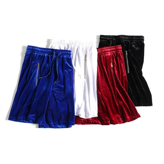 บุรุษกำมะหยี่กำมะหยี่ Hip Hop ตาข่ายขนาดใหญ่ Velour สั้นกระโปรงสีดำ/สีขาว/สีแดง/สีฟ้ากำมะหยี่ด้านข้างซิป Joggers กางเกงขาสั้นชาย