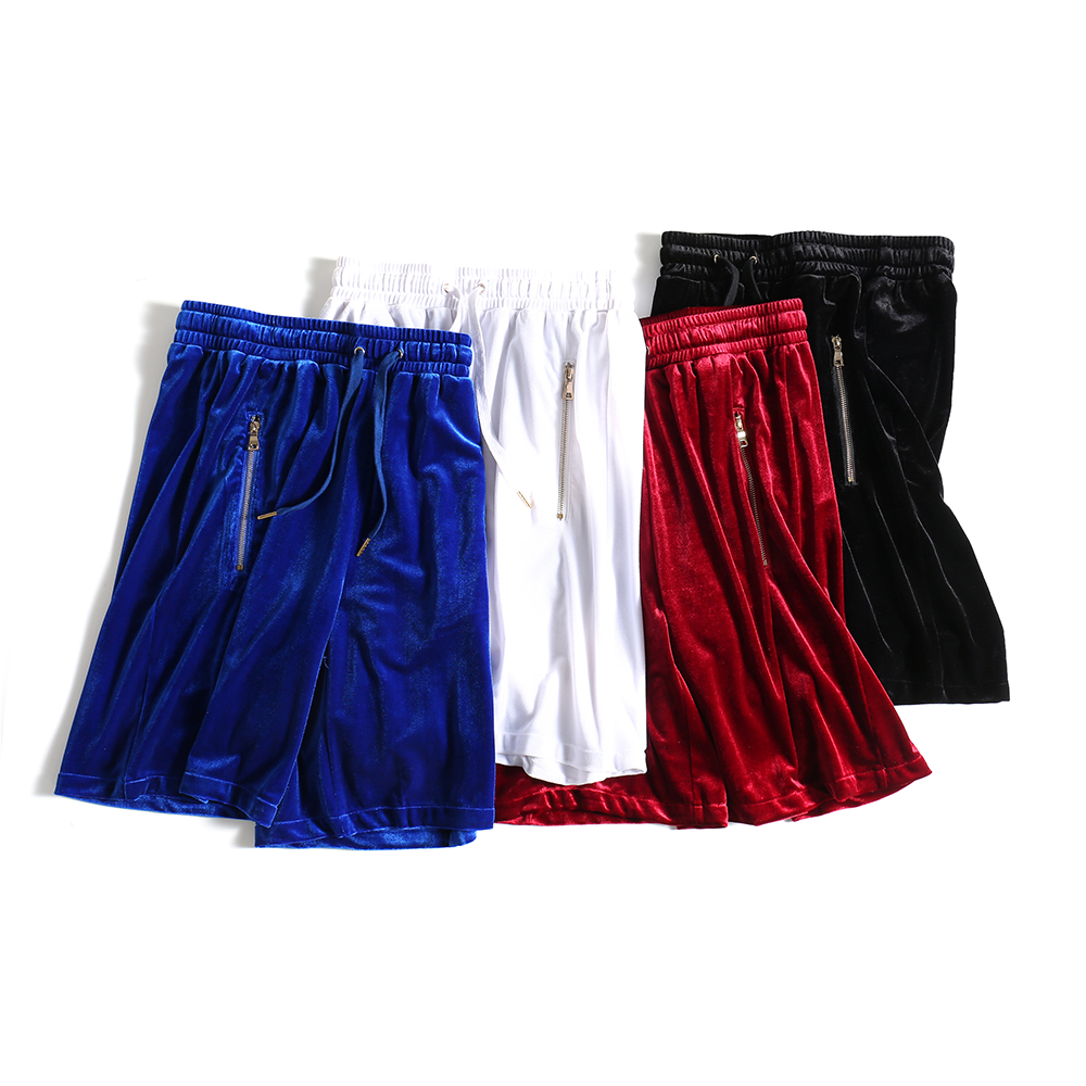 Mens Velvet   Shorts   Hip-Hop Oversized Mesh Velour   Short   Kanye West Black/White/Red/Blue Velvet Side Zipper Joggers   Shorts   Male