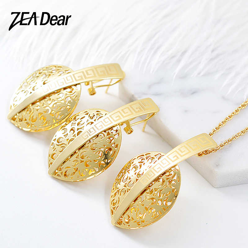 ZEA Dear Jewelry Vintage Jewelry Sets Earrings Necklace Pendant For Women Girls Gifts For Party Wedding Leaves Heart Jewelry Set