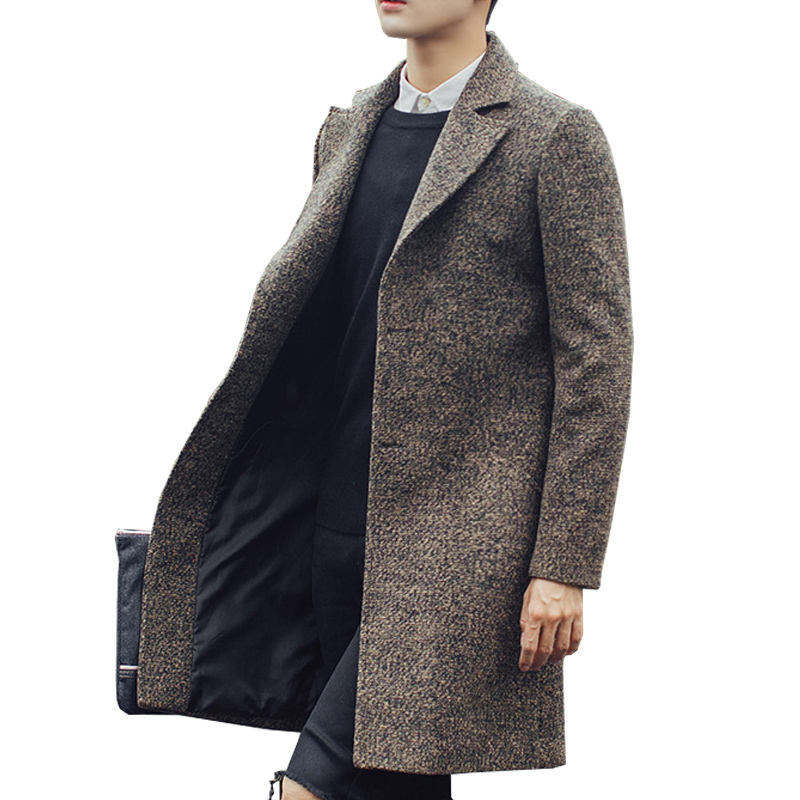 Long Trench Coat Men Wool Windbreaker Steampunk Overcoat Casual Outerwear Coats