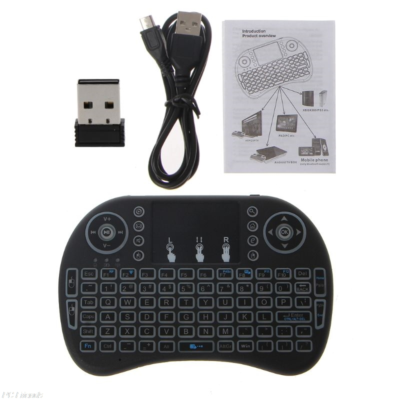abfc60b17c0 Package includes: 1 x 3 Color Backlight i8 Keyboard(Include Li-ion Battery) 1  x 2.4G USB Receiver 1 x USB Cable 1 x User Manual