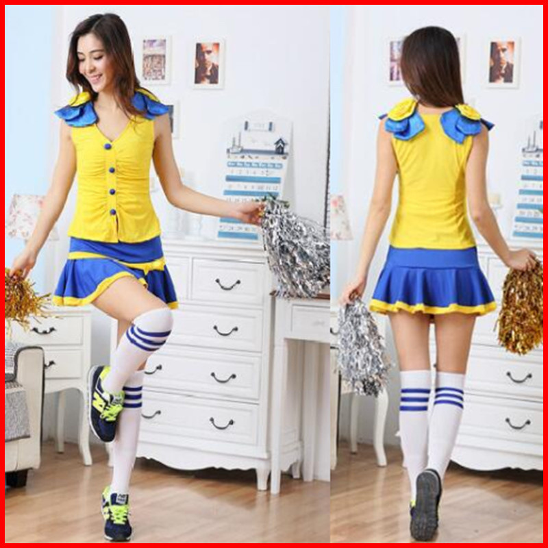 Sexy Fantasy Costume Racing Cheerleader Costumes Adult Uniform Fantasias Adult Women Cheers Team Yellow Set Costume Cheerleader