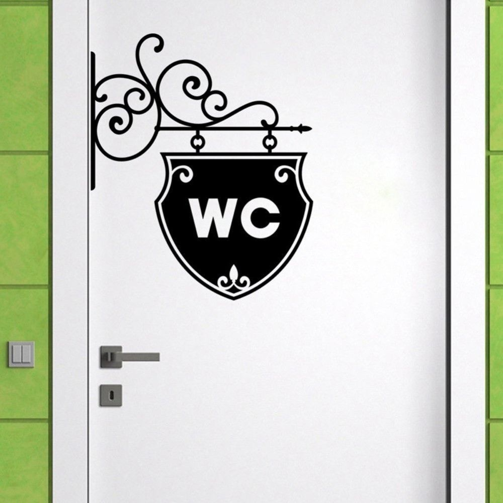 art wc toilet sticker home decoration decal removable home. Black Bedroom Furniture Sets. Home Design Ideas