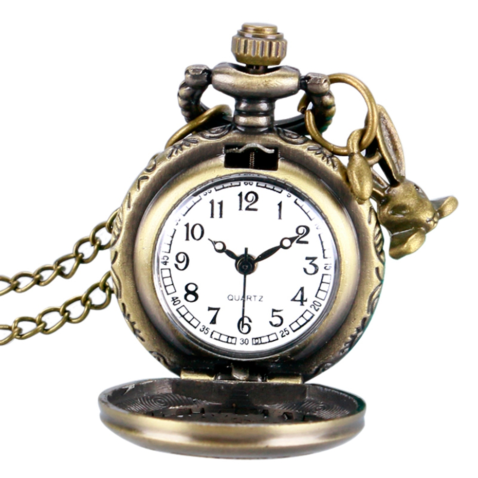 Retro Bronze Alice In Wonderland Drink Me Tag Women Rabbit Flower Pocket Watch Necklace Pendant Novelty Christmas Gifts Girl Boy 2017 2018 Men Women (7)